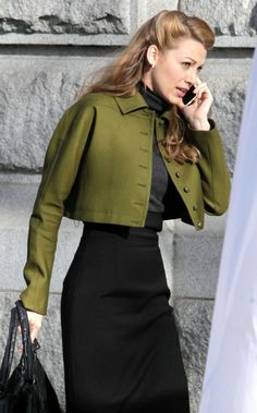 wearing Gucci Pre-Fall 2013 Black Dress Gucci Pre-Fall 2013 Cropped Jacket. Blake Lively On the Set of Age of Adaline in Vancouver - March 19.