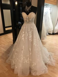 Floral ball gown wedding