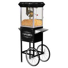 Elite Deluxe 8-oz. Old-Fashioned Kettle Popcorn Trolley, Black