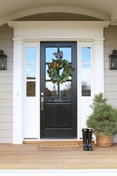 70 Beautiful Farmhouse Front Door Design Ideas And Decor. If you are looking for 70 Beautiful Farmhouse Front Door Design Ideas And Decor, You come to the right place. Front Door Paint Colors, Painted Front Doors, Front Door Design, Front Door Decor, Entrance Decor, Front Door With Glass, Front Door Molding, Entrance Design, Design Exterior
