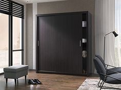 Modern Bedroom Wardrobe Sliding Door Porto 10 in Wenge 180cm sold by Arthauss