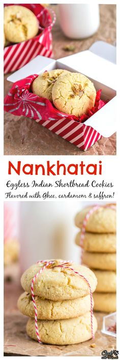 Eggless Indian Shortbread Cookies, these Nankhatai will melt-in-your-mouth! Eggless Desserts, Eggless Recipes, Eggless Baking, Baking Recipes, Cookie Recipes, Dessert Recipes, Breakfast Recipes, Indian Desserts, Indian Food Recipes