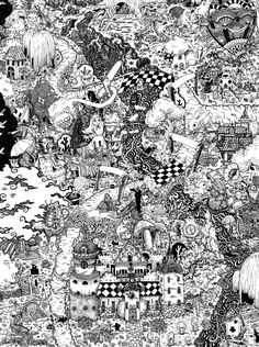 Lindsey's Alice in Wonderland pen and ink illustrated PRINT Doodle Map fairytale landscape seek find various sizes available cheshire cat by WyldTrees on Etsy