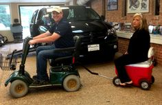 www.access2mobility.com has scooters & trailers(trailers have ice chest & padded seat).
