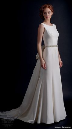 """Modern Trousseau Fall 2016 Wedding Dresses   Wedding Inspirasi   """"Minnie"""" -- Simply Stunning A-Line Wedding Gown With Sleeveless Tank Style Bodice Bateau Neckline, Pretty Embellished Belt At Natural Waist, Court Length Train, Oversized Silk Bow Detail At Back With Long, Trailing Tails"""