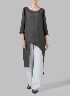 VIVID LINEN - Charcoal Green Linen Asymmetrical Tunic  #linen