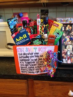 """Oh shit kit"" aka hangover kit - bestgiftsideas 21st Birthday Presents, Birthday Gift For Him, It's Your Birthday, Diy 21 Birthday Gifts, Hubby Birthday, Birthday Bash, Birthday Cakes, Birthday Parties, Hangover Survival Kit"