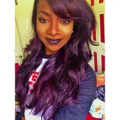 dark purple hair color on black women Dark Purple Hair Color, Hair Color For Black Hair, Love Hair, Hair Colour, Color Black, Purple Makeup, Purple Haze, Extensions, Plum Hair