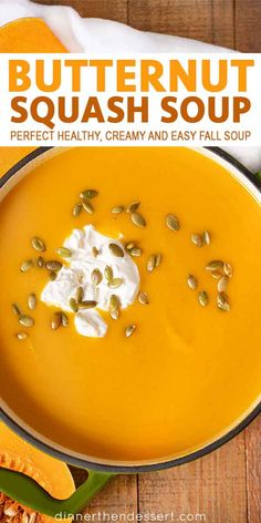 Squash Soup is the perfect fall soup with apples that s healthy and creamy andeasy for weeknights or your holiday meal!Butternut Squash Soup is the perfect fall soup with apples that s healthy and creamy andeasy for weeknights or your holiday meal! Fall Recipes, Holiday Recipes, Soup Recipes, Cooking Recipes, Recipes Dinner, Vitamix Recipes, Recipies, Best Butternut Squash Soup, Butter Squash Soup