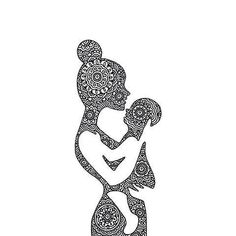 Mother and child tattoo design Doodle Art Drawing, Zentangle Drawings, Mandala Drawing, Pencil Art Drawings, Art Drawings Sketches, Mandala Art, Mandala Tattoo, Mutterschaft Tattoos, Et Tattoo