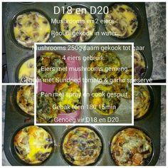 Eier en mushroom Healthy Eating Recipes, Diet Recipes, Cooking Recipes, Recipies, 28 Dae Dieet, Dieet Plan, Eating Plans, Kos, Stuffed Mushrooms
