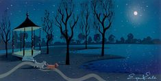 Eyvind Earle's Concept Art For Lady and The Tramp