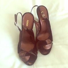 Amazing Fendi heels Bronze leather and chocolate brown velvet authentic Fendi heels. Small 1/2 in platform, sturdy heel. Absolutely Gorgeous! FENDI Shoes Heels