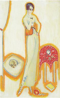 Femme au fond blanc - Kees van Dongen , 1912 Dutch, 1877-1968 Oil on canvas 50 5/8 x 31 in.