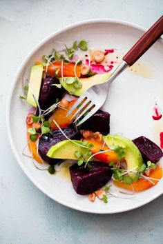 Roasted Beet Salad with Orange and Avocado. An EASY healthy salad recipe packed with healthy fats, texture, and nutrition!