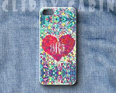 Handmade Custom Monogram Sublimation Case, Apple iPhone 5, 4, 4s, with Rubber Sides : Glass Heart on Etsy, $14.99