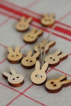 Bunny Rabbit Shapes zakka Wood Buttons Set