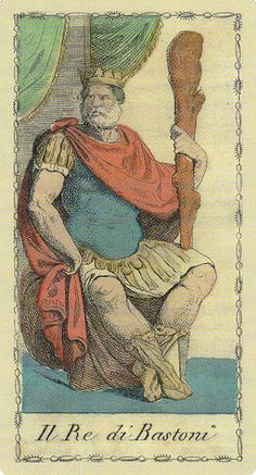 Ancient Tarots of Lombardy King of Wands     This card is from Ancient Tarots of Lombardy by Ferfinando Gumppemberg Milano 1810, published by Lo Scarabeo.    https://twitter.com/78Whispers