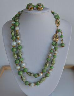 Vintage Green Murano Glass Avon Kenneth Jay Lane KJL 2 row Necklace Earrings SET #KennethJayLane