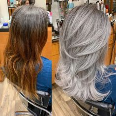 Brassy to icy silver. Total service was 10 hours and one session, I started the long process by cutting her length about 3 inches with… Grey White Hair, Silver Grey Hair, Grey Hair Before And After, White Hair Highlights, Blonde Grise, Grey Hair Transformation, Gray Hair Growing Out, Transition To Gray Hair, Corte Y Color