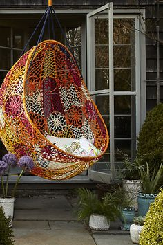 Knotted Melati Hanging Chair - Is your patio lacking some summer lustre? This Knotted Melati Hanging Chair is the perfect addition to drab decks and bland backyards. Dream Garden, Home And Garden, Swinging Chair, Hammock Chair, Room Hammock, Hammock Swing, My Dream Home, Diy Design, Design Ideas