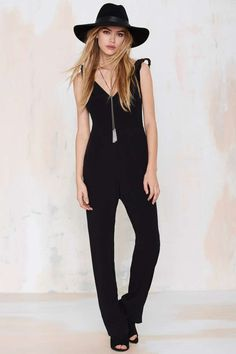 For Love and Lemons Midnight Tide Crepe Jumpsuit