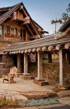 Alpine Custom Log Home - Dancing Hearts, Montana @styleestate Log Cabin Living, Log Cabin Homes, Log Cabins, Cabin In The Woods, Rustic Home Design, Rustic Homes, Log Home Decorating, Mountain Homes, Mountain Cabins