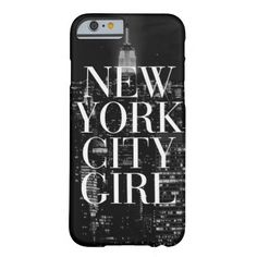 New York City Girl Black White Skyline Typography Barely There iPhone 6 Case