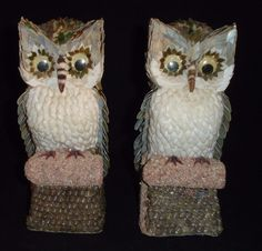 Sea Shell Art Owl Figurine Statues Handcrafted Pair 8 inch