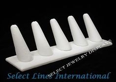 NEW White Faux Leather 5 Finger Ring Jewelry Display !! $6