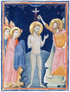 Pacino di Bonaguida, (active 1302-1340 in Florence), illustrator, The Morgan Codex (Folio 9) c. 1320. The Morgan Library and Museum, New York.