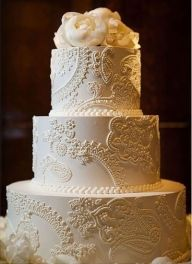 "Elegant wedding cake with ""lace"" accent--would compliment a vintage lace gown perfectly! - Tiers and Frosting"