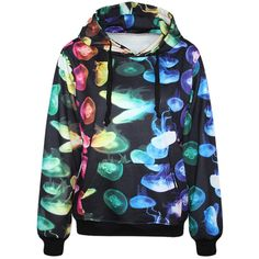 Chicnova Fashion Harajuku Style Jellyfish Print Sweatshirt ($20) ❤ liked on Polyvore featuring tops, hoodies, sweatshirts, sweaters, harajuku, jackets, pattern hoodies, patterned sweatshirts, sweatshirt hoodie and hooded sweat shirt