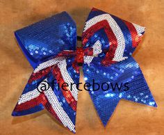 Red, White and Blue Sequin Chevron Tick Tock Cheer Bow on Etsy, $10.00