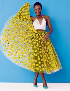 Yellow And White Summer Outfit With Mesh Lemon Printed Midi Skirt