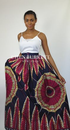 African Print Maxi Skirt Mel Maxi Skirt: Navy and by CHENBURKETTNY