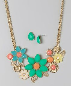 Another great find on #zulily! Mint & Orange Teardrop Flower Bib Necklace & Earring Set #zulilyfinds