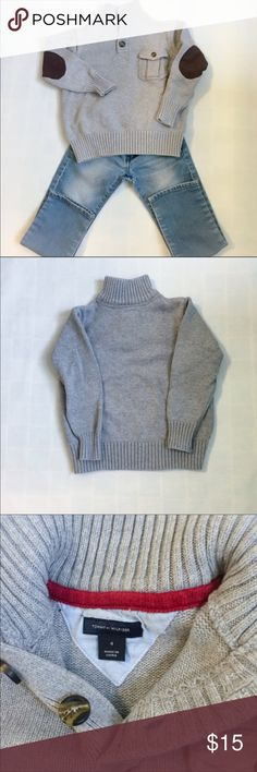 Tommy Hilfiger Boys Turtleneck Sweater Tommy Hilfiger Boys Turtleneck Sweater  Tommy Hilfiger Little Boys Turtleneck soft and warm Gray Sweater with three bottoms and a breast pocket on the left side, elbow patches. Excellent condition, worn only a few times. Sweater is in excellent condition, no stains, pulls or rips. I take great care of my clothes & I guarantee that all clothes that are purchased from my closet will be shipped to you in a condition that it was described and shown in…