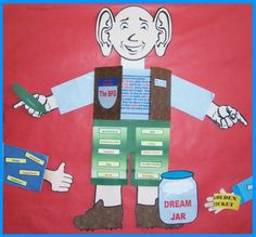 """Character Body Book Report Projects:  This is an example of """"The B.F.G."""" (written by Roald Dahl)  character project that was designed by one of my students.  The student wrote a description inside the vest area and glued adjectives that describe The B.F.G. on the outside of his arms and legs.  Directions and templates for assembling these fun """"character body book report projects"""" are available on Unique Teaching Resources."""