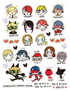 Miraculous Ladybug and Chat Noir Todos os psonagens Adrien, Plag, Tikky, Chloe, Marinette, Nathaniel, Nico, Alya e etc