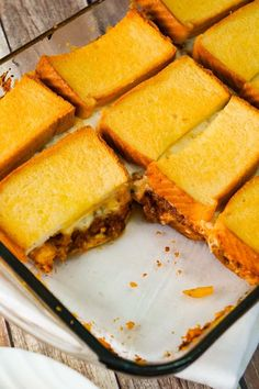 Sloppy Joe Grilled Cheese Casserole is an easy ground beef dinner recipe your whole family will love. This tasty casserole is loaded with mozzarella cheese and sloppy joe filling sandwiched between two layers of bread. easy dinner recipes for family Beef Recipes For Dinner, Gourmet Recipes, Healthy Recipes, Vegetarian Recipes, Ground Hamburger Recipes, Meal Ideas For Dinner, Ham Recipes, Vegetarian Dinners, Supper Recipes