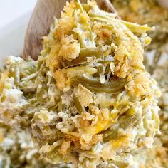 Canned green beans, cheese, french fried onions, and a few seasonings is all you need for the best green bean casserole. This green bean casserole has no mushrooms and no creamed soups in it! Greenbean Casserole Recipe, Casserole Recipes, Crockpot Recipes, Soup Recipes, Cooking Recipes, Veggie Recipes, Keto Recipes, Potato Recipes, Yummy Recipes