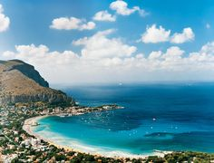 From Conde Nast Traveler:  Italy in Full | View of the Conca d'Oro hills curving around the Bay of Mondello