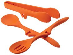 Rachael Ray Tools and Gadgets Three-Piece Tool Set with Lazy Slotted Spoon, Lazy Spoon and Lazy Tongs, Orange Rachael Ray Utensils, Rachael Ray Cookware Set, Purple Kitchen, Kitchen Colors, Kitchen Stuff, Kitchen Things, Kitchen Ideas, Orange Kitchen, Red Kitchen