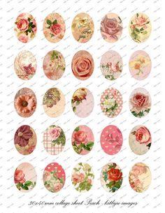 Peach oval image  30 x 40mm   digital collage sheet by Digitalbyli, $4.50