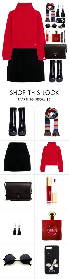 """Red & Black"" by gicreazioni ❤ liked on Polyvore featuring STELLA McCARTNEY, Burberry, Versace, PB 0110, Bobbi Brown Cosmetics, Yves Saint Laurent, Christian Dior and Henri Bendel"