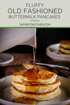 These Old Fashioned Buttermilk Pancakes are the fluffiest pancakes that are perfect for a Saturday morning. Not only are they simple to put together, but they are delicious to eat. #fluffypancakes #bestpancakes #breakfastideas