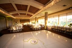Custom decals for the dance floor punctuate the couple's Monogram in style #palmvalleycountryclub #gethitchedinpalmsprings