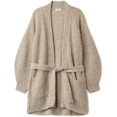 Clash Cardigan - Smoky Grey - Knitwear - Weekday ($83) ❤ liked on Polyvore featuring tops, cardigans, knee length cardigan, wrap cardigans, knee high tops, grey chunky knit cardigan and cardigan top