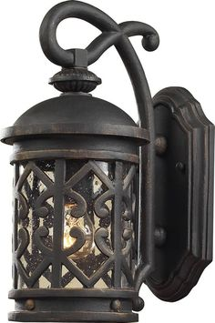 """0-102997>14""""""""h Tuscany Coast 1-Light Outdoor Wall Lantern Weathered Charcoal/Clear Seeded"""
